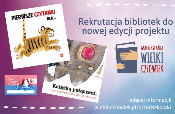 plakat zawiera miniaturę ksiązki, logo akcji i kartę czytelnika